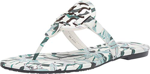Sandals Flip Logo Flop - Tory Burch Miller Flip Flop Leather Thong Sandal Logo (8, Ivory Desert Bloom)