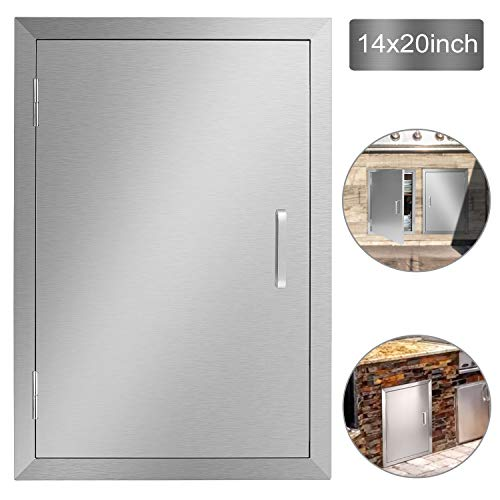 Seeutek Outdoor Kitchen Doors 14W x 20H Inch BBQ Access Door - Stainless Steel Single Wall Construction Vertical Door for Outdoor Kitchen Grilling Station or Commercial BBQ Island