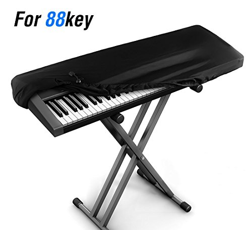 Review JamBer Stretchable Electronic Piano Keyboard Dust Cover for 88 Key Keyboard, Black