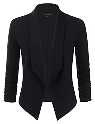 JJ Perfection Womens Textured Open-Front Collar Blazer With Ruched Elbow Sleeve