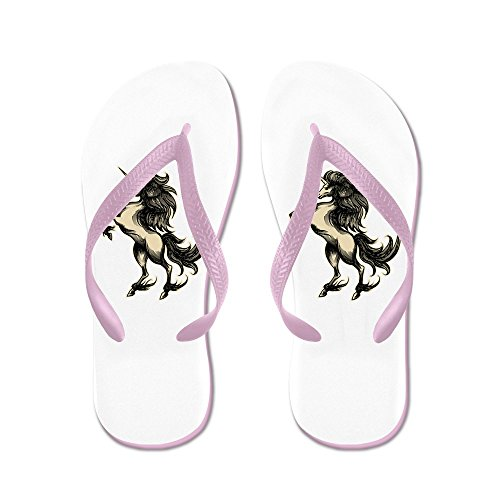 Truly Teague Kid's Unicorn Heraldry Engraving Style Pink Rubber Flip Flops Sandals 9-11 by Truly Teague (Image #1)