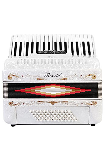 Rossetti Piano Accordion 72 Bass 34 Keys 5 Switches White by Rossetti