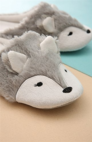 Women Ladies Winter Thermal Thick Coral Fleece Slippers Feet Warmer Cozy Comfort Antiskid Slip-On House Slippers Footwear Shoes, 3D Fox Design by Fakeface (Image #6)