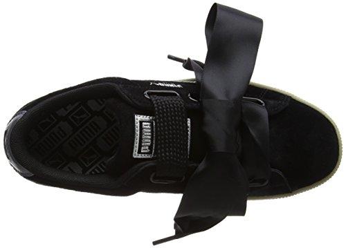 03 Puma Safari Para black Zapatillas Suede Heart 364083 Negro Mujer xPqafpOP