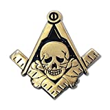 Widows Son Skull Square & Compass Gold Lapel Pin - 1
