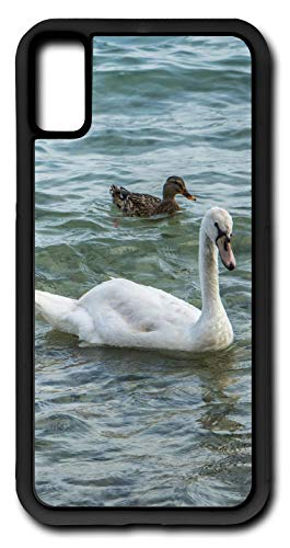 (iPhone Xs Case Swan Duck Duckling Swimming Webbed Feet Fish Eater Customizable by TYD Designs in Black Rubber)