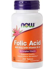 Now Foods Folic Acid with Vitamin B-12 Tablets, , 800mcg, 250ct