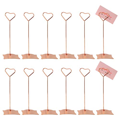 Mavicen Place Card Holder 5.9 Inch 12pcs Table Number Card Holders Table Sign Holders Metal Picture Photo Holder Stand for Wedding Favors, Rose Gold