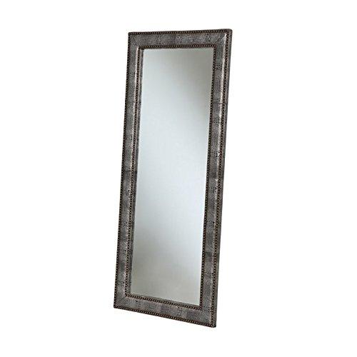 Abbyson Living Braelin Bonded Leather Floor Mirror in Silver Leather Floor Mirror