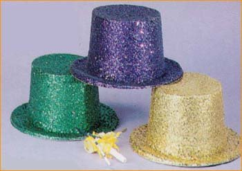 Hat - Glitter Top Hat Green Deluxe (Green Top Hats)