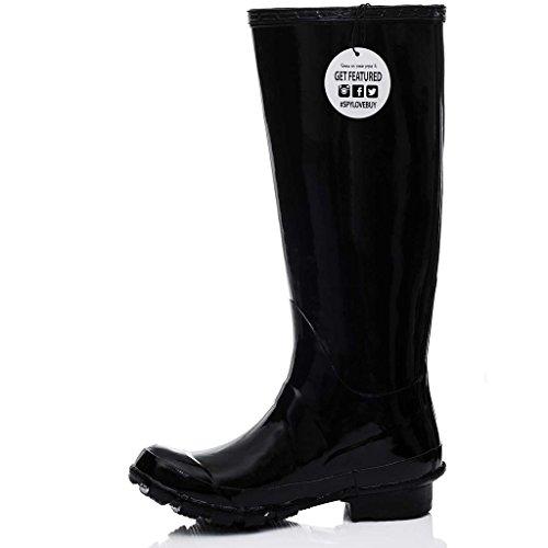 Festival Gloss Wellies Spylovebuy Black ARCTIC Flat Rain Boots p4wxHO