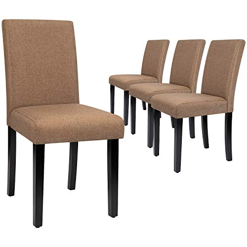 Furmax Dining Chairs Urban Style Fabric Parson Chair Kitchen Livng Room Armless Side Chair with Solid Wood Legs Set of 4 (Brown)
