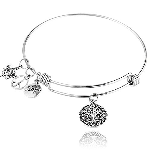 (BEMI Popular 925 Sterling Silver Plated Engraved Message Charm Expandable Wire Bangle Bracelet for Woman Tree of Life)