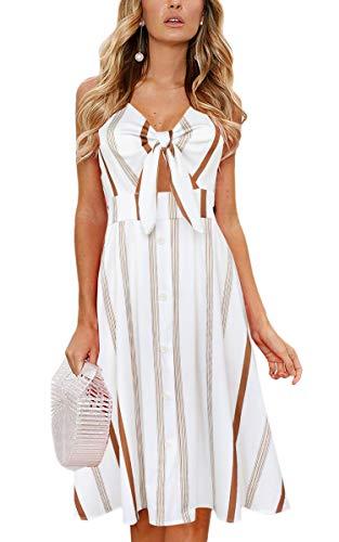 ECOWISH Women Dresses Summer Tie Front V-Neck Spaghetti Strap Button Down A-Line Backless Swing Midi Dress 1603 Khaki Stripe L