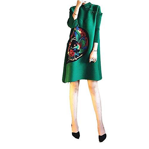 Estilo De Larga Las Vestido Cóctel Para Invierno Verde Línea Vintage Cheongsam Con Manga Fiesta Noches Suelto Damas Mini Fi Estampado Una Vestidos Corto 6WFdxH6
