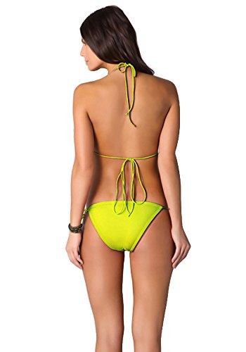 Botobkn Halter bikini Traje de ba?o de Moda Mujer Trajes 2pcs Yellow
