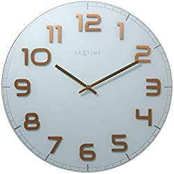 Unek Goods NeXtime Classy Round Wall Clock, Decorative, Shiny Copper Colored Big Numbers, Battery Operated, White