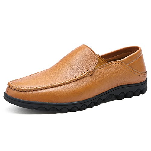 Mens Classic Casual Loafers - Driving Moccasins Soft Slip On Shoes 27002-2 Yellowish-brown CsUQ8QUcX3