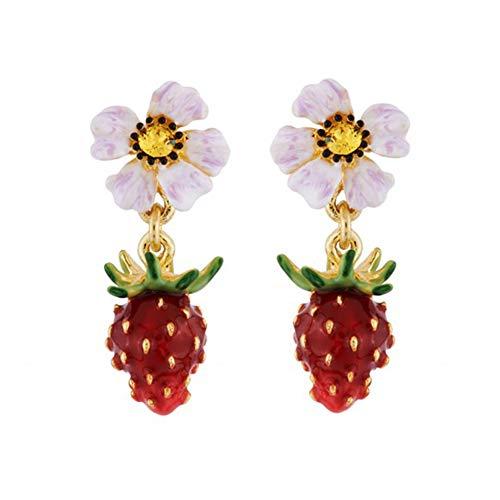 soAR9opeoF Fashion Women Enamel Strawberry Flower Dangle Pendant Stud Earrings Jewelry Gift Red