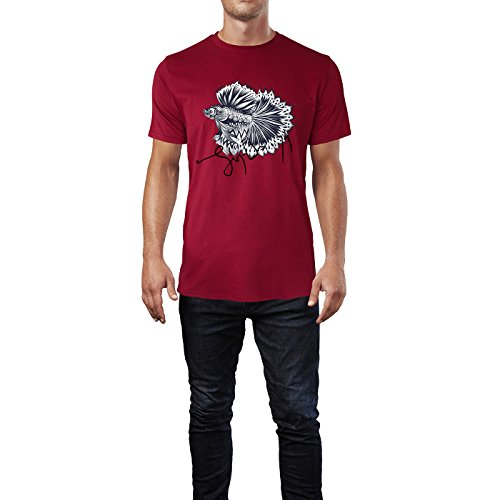 SINUS ART® Exotischer Kampffisch im Tattoo Stil Herren T-Shirts in Independence Rot Fun Shirt mit tollen Aufdruck