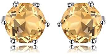 1ct Round Natural Gemstone Amethyst Citrine Garnet Peridot Topaz 925 Sterling Silver Stud Earrings