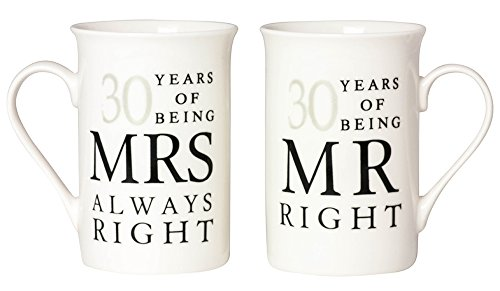 30th Wedding Anniversary (Ivory 30th Anniversary Mr Right & Mrs Always Right Mug Gift Set by Haysoms)