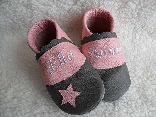 best loved c798f ec49a Annes-Lederpuschen Krabbelschuhe mit Namen Taufschuhe Babyschuhe  personalisiert Lederpuschen Mädchen Geburtsgeschenk rosa grau