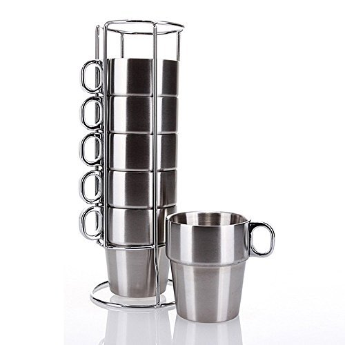 PER-IHOME Stainless Steel Insulated Cups Coffee Cups, Double Layer Heat Insulation, Set of 6