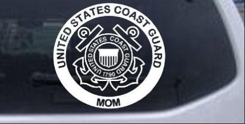 United States Coast Guard Mom Military Car Window Wall Laptop Decal Sticker -- White 6in X 5.6in