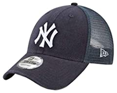 The New York Yankees Trucker 9FORTY Adjustable features an embroidered team logo at the front panels with trucker fabrication and a woven tab displaying an alternate logo at the rear alongside an adjustable snap closure. Crown & Visor is ...