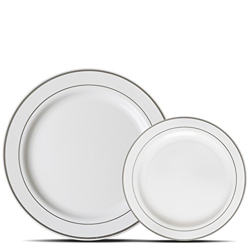 Premium 60 Pack White with Silver Rim Plastic Plates - Includes 30 Dinner Plates and 30 Salad Plates by Alpha & Sigma - Edge Service Plate