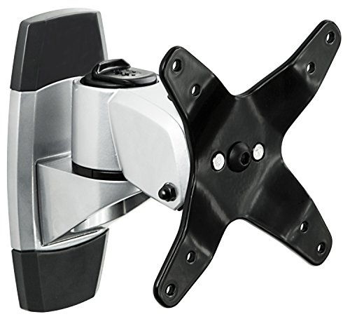 Mount-It! Monitor Wall Mount for TVs and Computers that Rotates, Swivels, and Tilts, VESA Compatible 75 and 100, Single Display Fits Screens 19 20 21.5 22 24 27 30 32 34 inches, Silver (MI-31114)