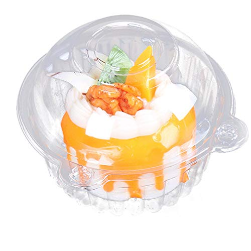 100pcs Plastic Cupcake Case Muffin Pods Dome Cups Cake Boxes Gifts Container Kitchen Supplies ()