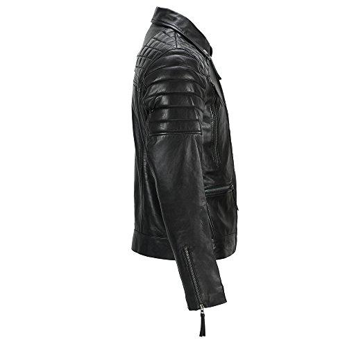 Casual Motociclista Marrone Vintage Slavato Black Antico Da Giacca Uomo Con Diagonali Cerniere Pelle Stile Morbida In Vera FBSxEC5qw