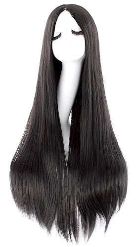 iLoveCos Women's Black Long Wig Cosplay Halloween Costume Wigs 32 inch