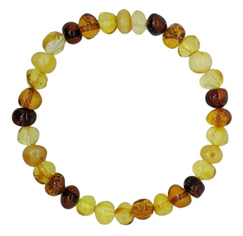 Amberito Baltic Amber Adult Bracelet Handmade on Elastic Band 7 inches Long- Arthritis, Headache, migraine Pain Relief- Made from raw Amber Beads| Amber Bracelet for Women, Men, Teens (Multi)