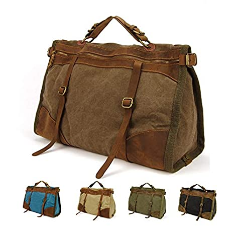 Vintage Retro Military Canvas Leather Men Travel Bags Luggage Bags Men Weekend Bag Overnight Duffle Bags Tote Leisure M314 Travel Bags SOMITI