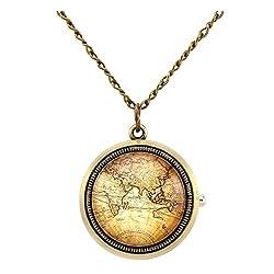 Top Plaza Retro Classic Antique Bronze Fob Pocket Watch Rotatable Hemisphere World Map Vintage Pendant Necklace Analog Quartz Watch with Chain