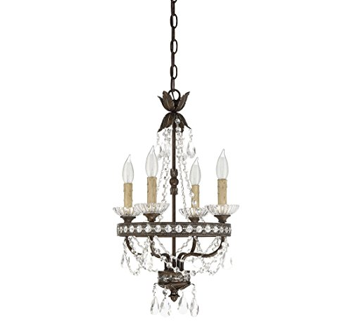 Savoy House 1-1043-4-8, Mini 4-Light Chandelier, New Tortoise Shell With Silver Finish