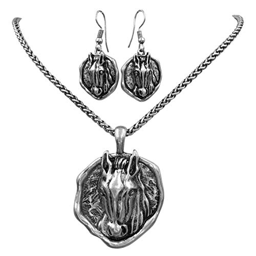 (Gypsy Jewels Horse Western Theme Necklace & Earring Set (Burnished Disk Head))