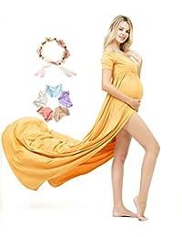 Sannyway Photoshoot Maternity Dress Front Split Short Sleeve Photography Maxi Gown