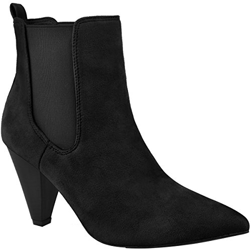 Cone Heel (Fashion Thirsty Womens Ankle Boots Block High Cone Heel Elasticated Stretch Shoes Size 8)