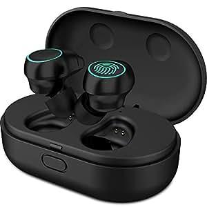 HolyHigh Auriculares Bluetooth 5.0 Auriculares Inalámbricos Mini Twins Stereo Auriculares Inalambricos Cascos Bluetooth con Caja de Carga y Micrófono Integrado para iOS Android