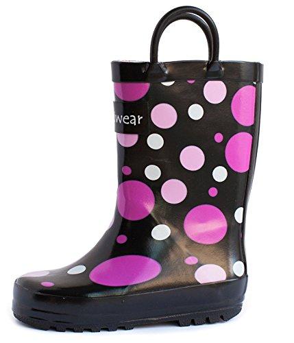 Oakiwear Kids Rubber Rain Boots with Easy-On Handles (5T US Toddler, Purple Polka Dot)