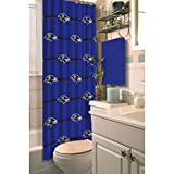 1pc Deep Blue NFL Baltimore Ravens Football Sports Themed Shower Curtain, True Color, Modern Elegant Design, Polyester Detailed Sports Pattern, Official Colorful Team Logo Printed, All Seasons