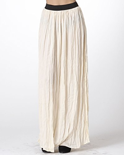 Carapace Womens Women's Solid Crinkle Maxi Skirt Cream L (Solid Crinkle Skirt)