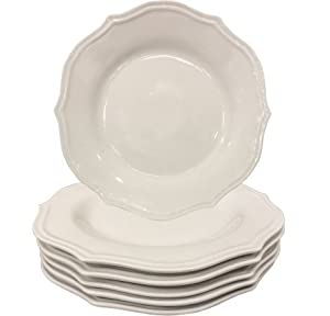 Better Homes and Gardens Round Scalloped Porcelain Dinner Plates, White Set of 6