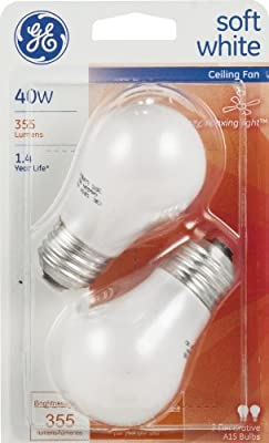 GE Ceiling Fan Bulbs, 40 Watts, White, Pack Of 2 (Pack of 3)