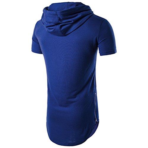 Tee Courte Fit Section Homme T Manche Shirt À shirt Chengyang Slim Bleu Longue Capuche qARH4nC