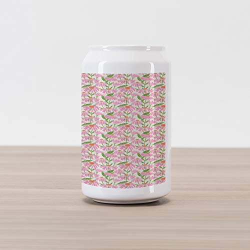 Ambesonne Garden Art Cola Can Shape Piggy Bank, Botanical Pattern with Echinacea Flowers Stems and Leaves Pink Gardening Plants, Ceramic Cola Shaped Coin Box Money Bank for Cash Saving, Multicolor